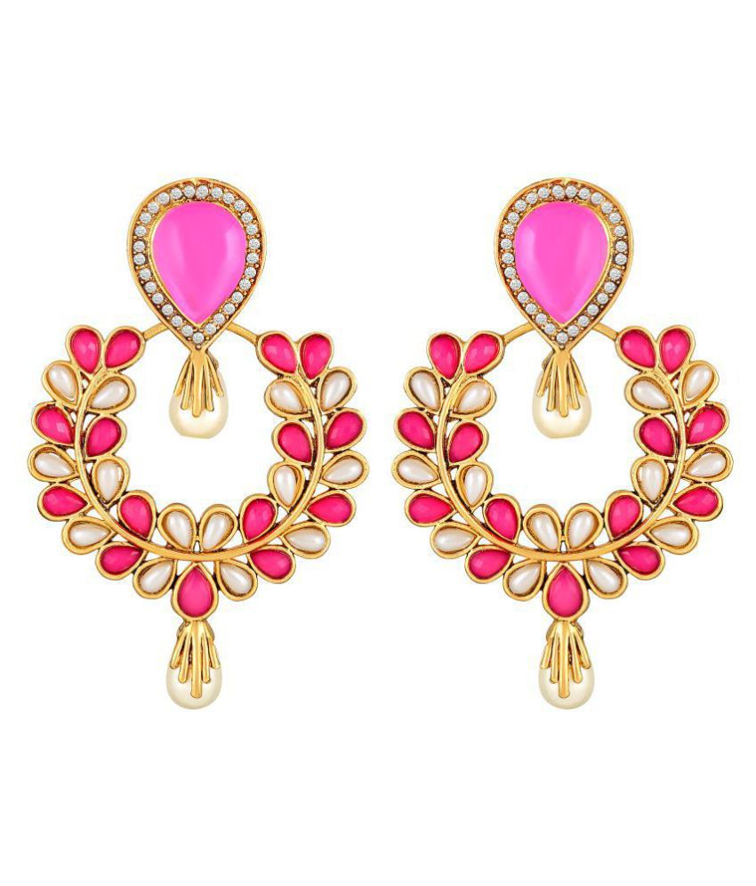 Sukai Jewels Pink Pearl Stylish Gold Plated  Zinc Cz AD Studded Dangle and Drop Earring for Women & Girls [SER201G]