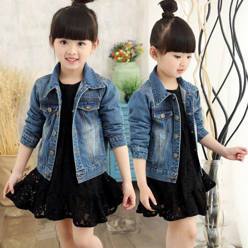 Fashion Girl Boys Coat Autumn Wash Soft Denim Coat Jeans Jacket for Girls Denim Jackets Spring Denim Jacket Long Sleeve Boys Outwear