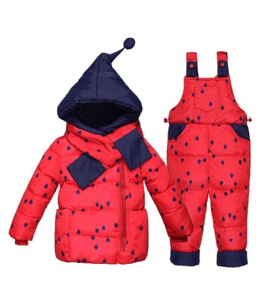 Winter Childrens Clothing Set Kids Ski Suit Overalls Baby Girls Down Coat  Jackets+bib Pants