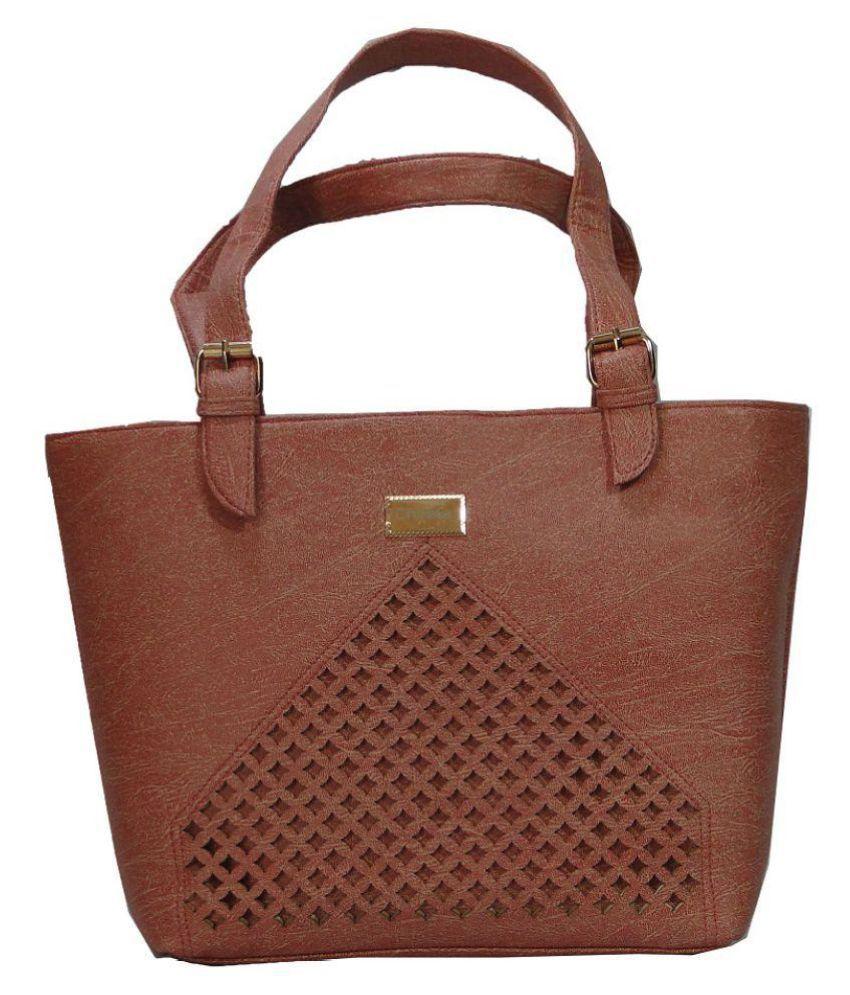 cheela Brown Faux Leather Shoulder Bag