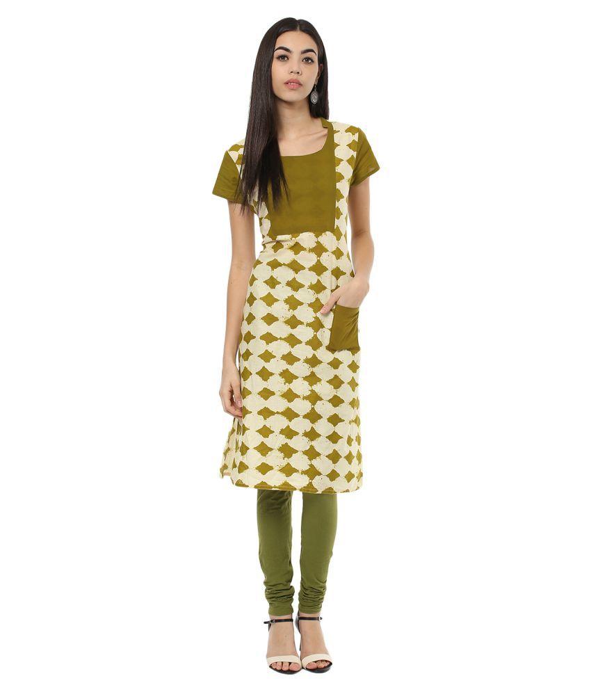 Rangeelo Rajasthan Green Cotton Straight Kurti