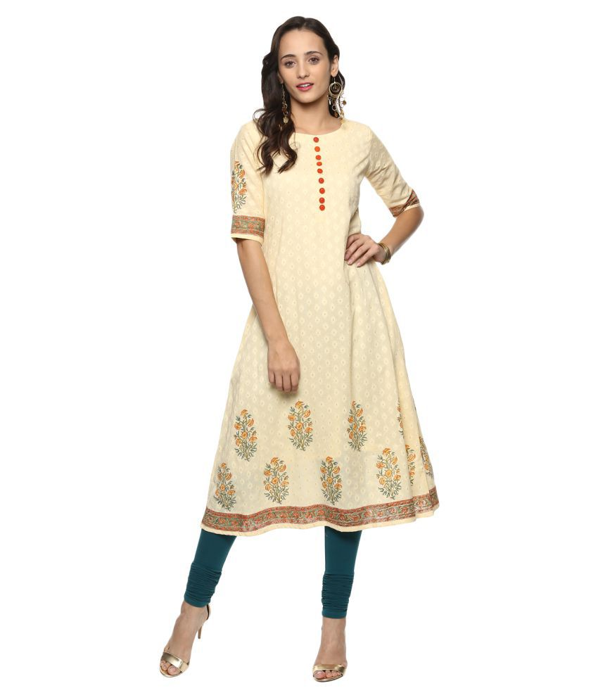 Prakhya Yellow Cotton A-line Kurti