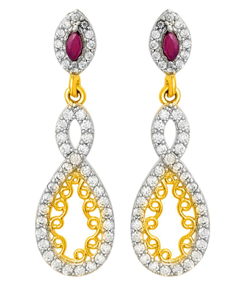 Voylla CZ Designer Blossoms-CZ Dangler Earrings For Women