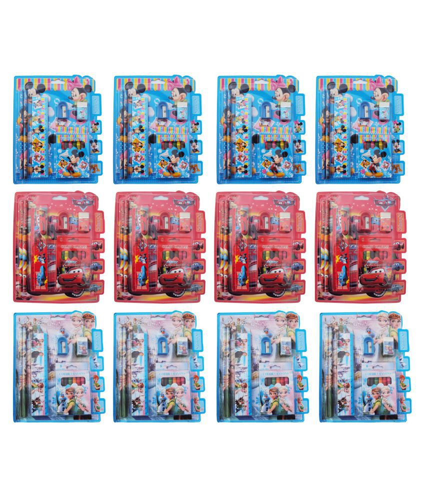 Aarvi Mix Cartoon Character Crayons And Sationary Birthday Return Gift Set For Kids Pack Of 12 Sets Buy Online At Best Price In India