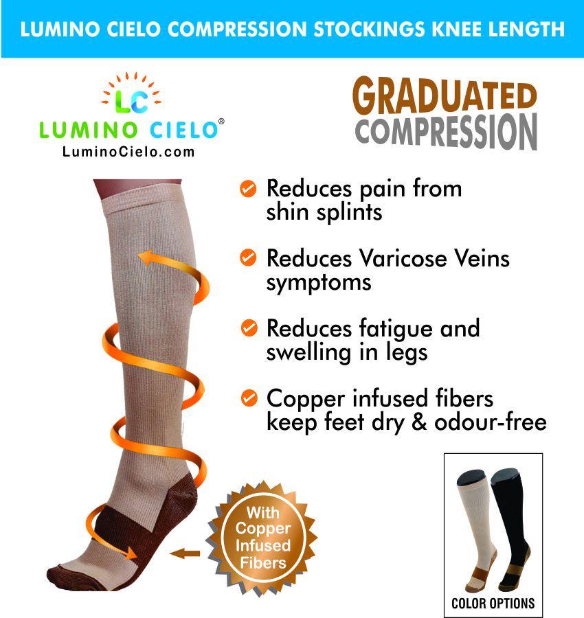 Lumino Cielo Copper Compression Socks Large