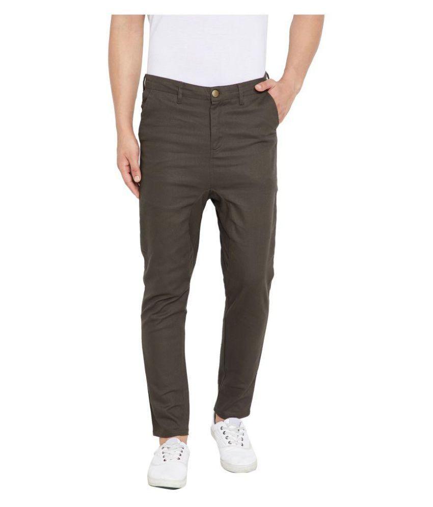 Hypernation Brown Regular -Fit Flat Trousers