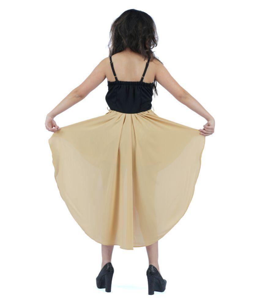 KONINK Poly Viscose Black Fit And Flare Dress