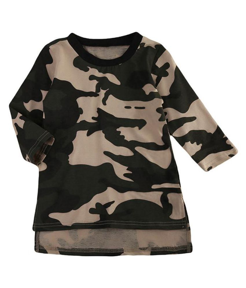 cd48fc0850c Cute Camouflage Pattern Straight Girls Dresses Long Sleeve Kid Girls Clothes  ...