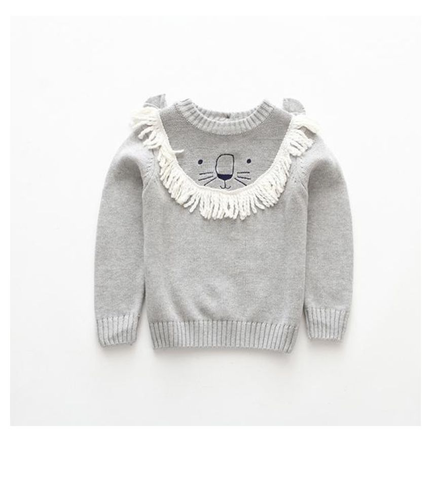 Cute Lion Spring Autumn Knitted Boys Sweaters For Kid Boys