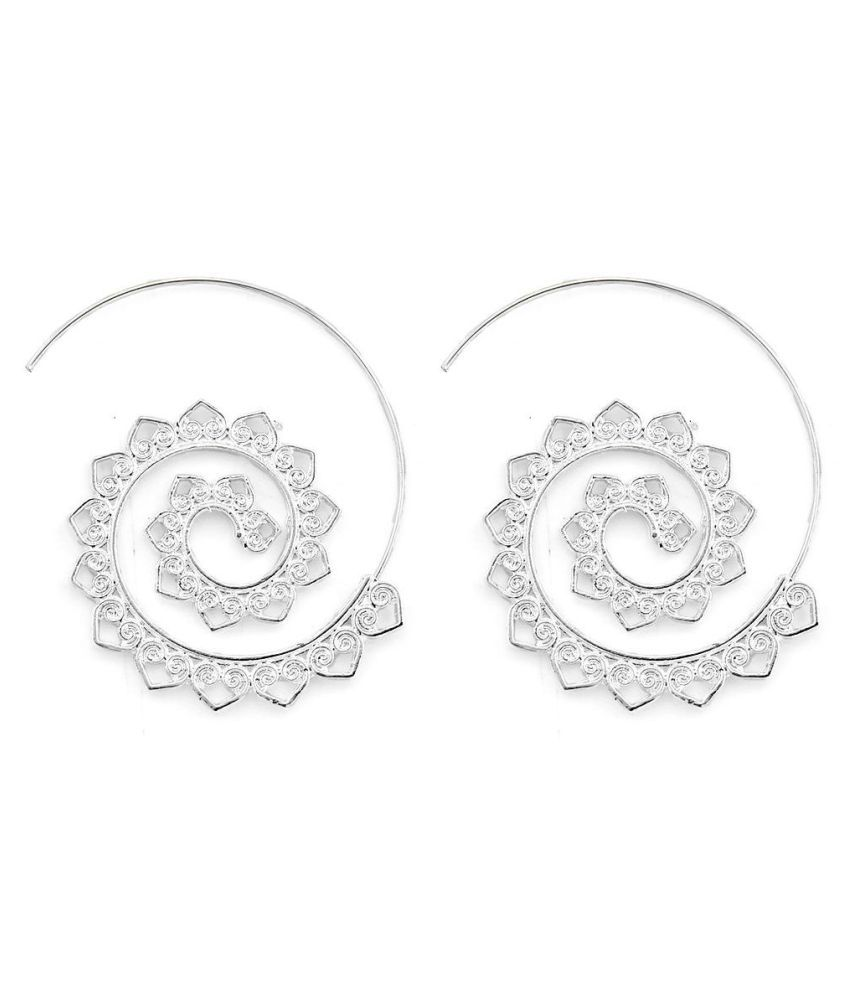 Exaggerated Spiral Heart Drop Shape Big Circle Hoop Gold Silver Color Dangle Earrings Gift for Her