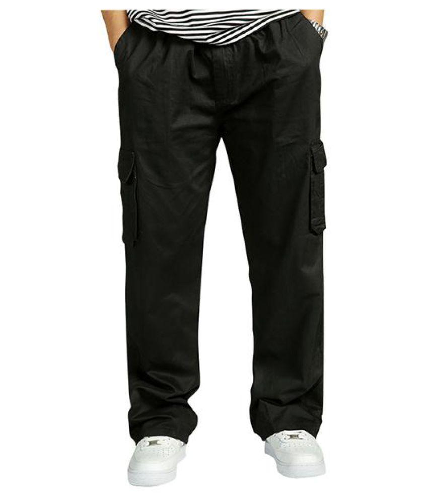 ef8b95c7cc124f ... Mens Multi-pocket Cotton Cargo Pants Elastic Waist Loose Fit Solid  Color Casual Trousers ...