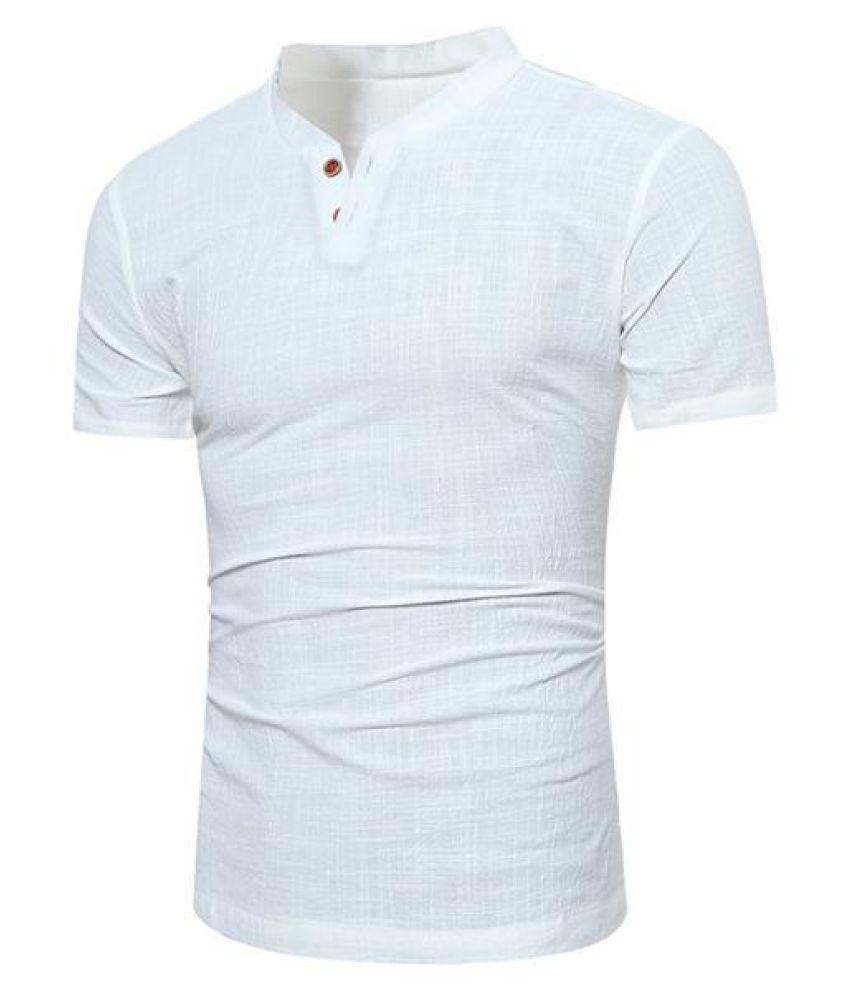 7fe53679 Mens Casual Linen V-neck Chinese Collar Short Sleeve T-shirt Fashion ...