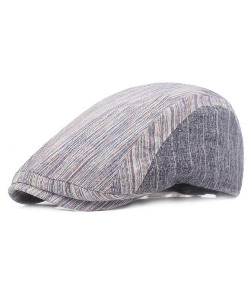 ... Men Women Cotton Stripe Beret Hat Adjustable Buckle Paper Boy Newsboy  Cabbie Golf Gentleman Cap 5b3b17388af1