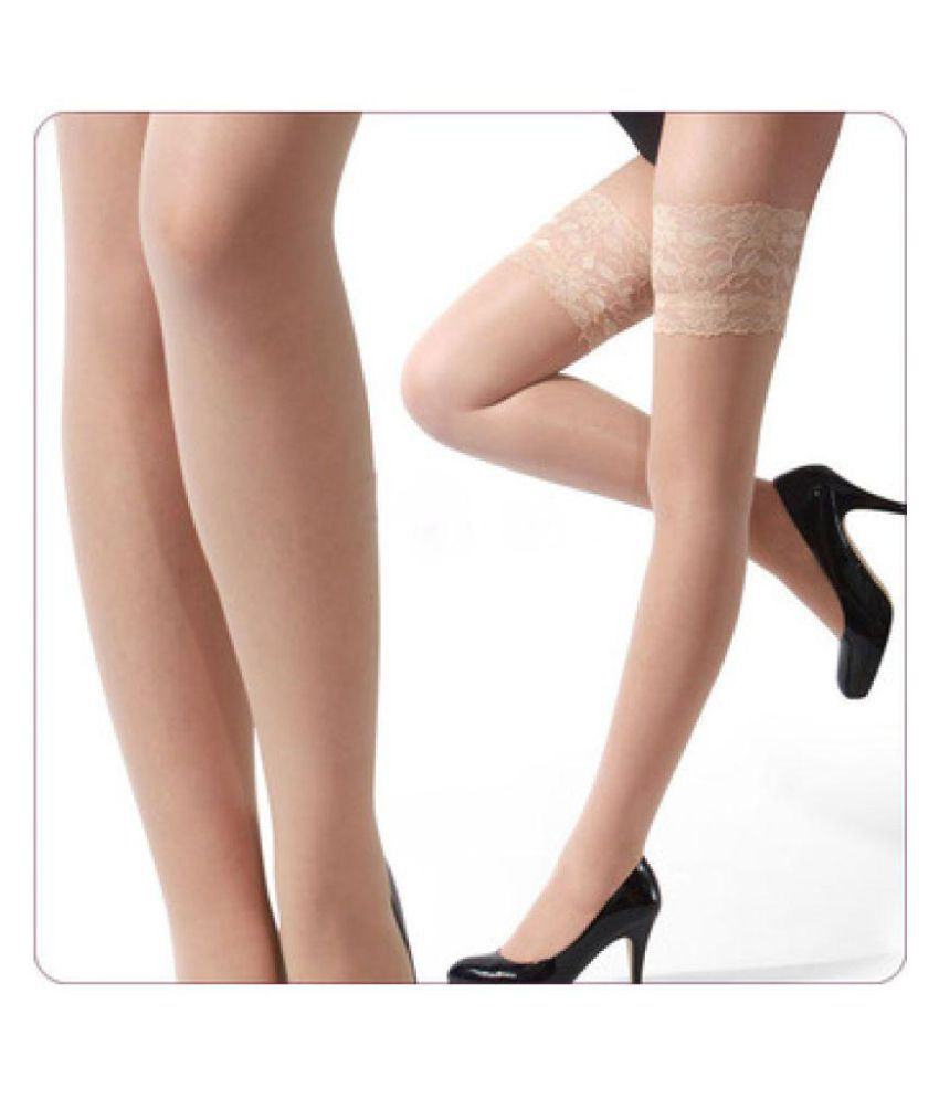 5d05e923f00 STOCKINGS - SHEER LACE THIGH HIGH BEIGE  Buy Online at Low Price in ...
