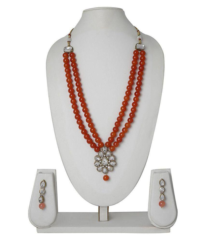 Catalyst Pearls Orange Contemporary Designer Gold Plated Necklaces Set