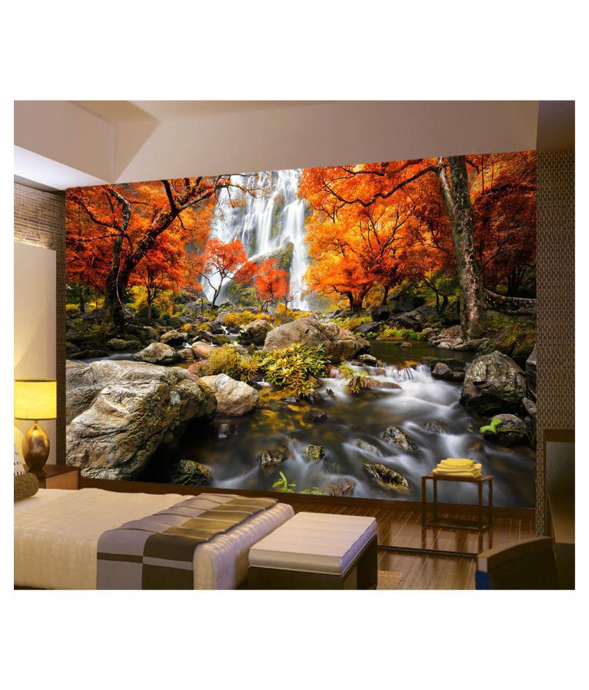 3d photo wallpaper wall mural river waterfall maple nature scenery rh snapdeal com
