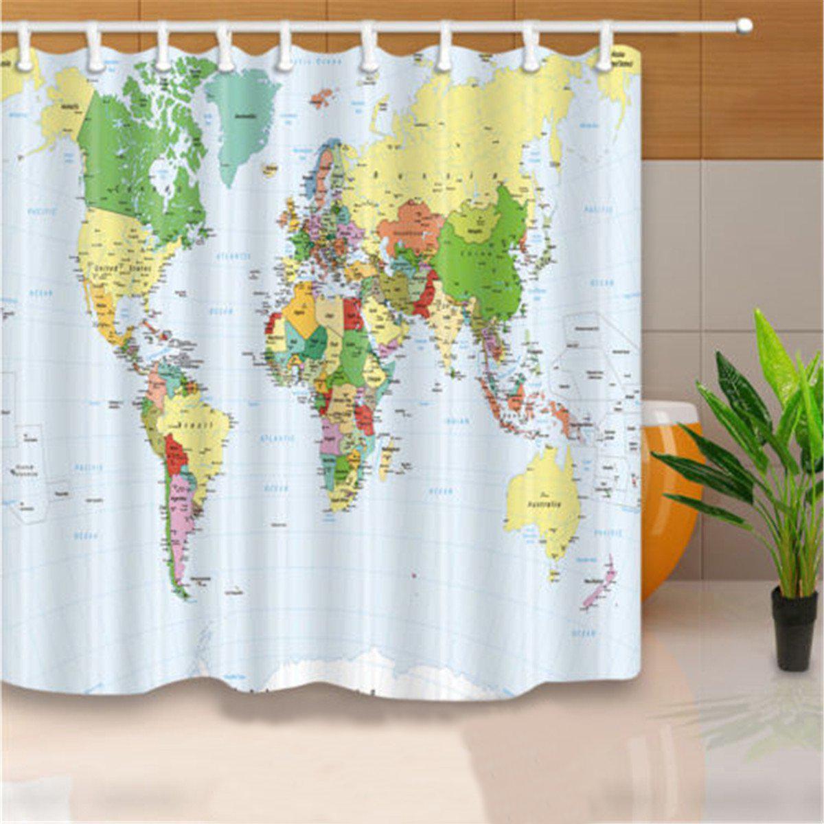 Buy 180x180cm Polyester World Map Bathroom Bath Waterproof