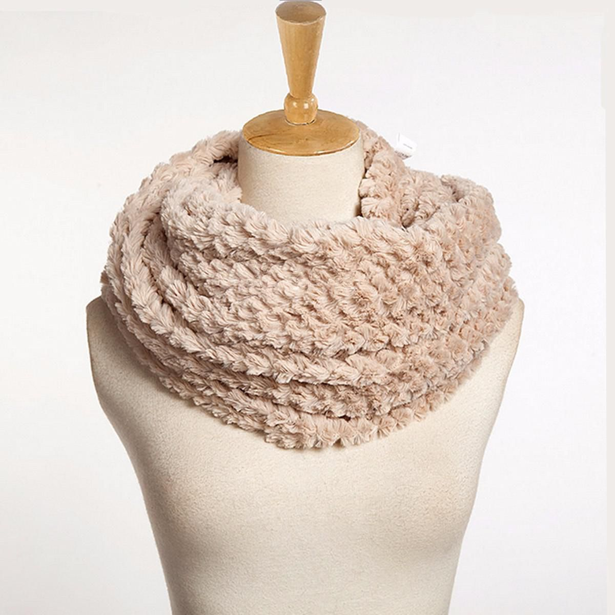 Women Winter Warm Infinity Circle Cable Knit Cowl Neck Long Scarf Shawl Wrap NEW
