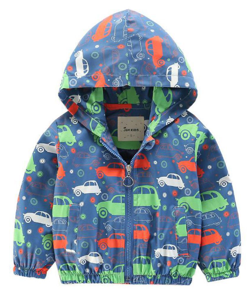 Cartoon Print Girls Boys Toddler Hooded Coats Jackets Outerwear For 2Y-9Y