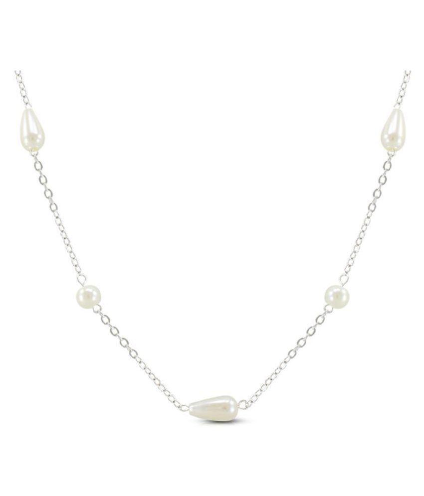 Diva Alloy White Contemporary Contemporary/Fashion Platinum Plated Necklace