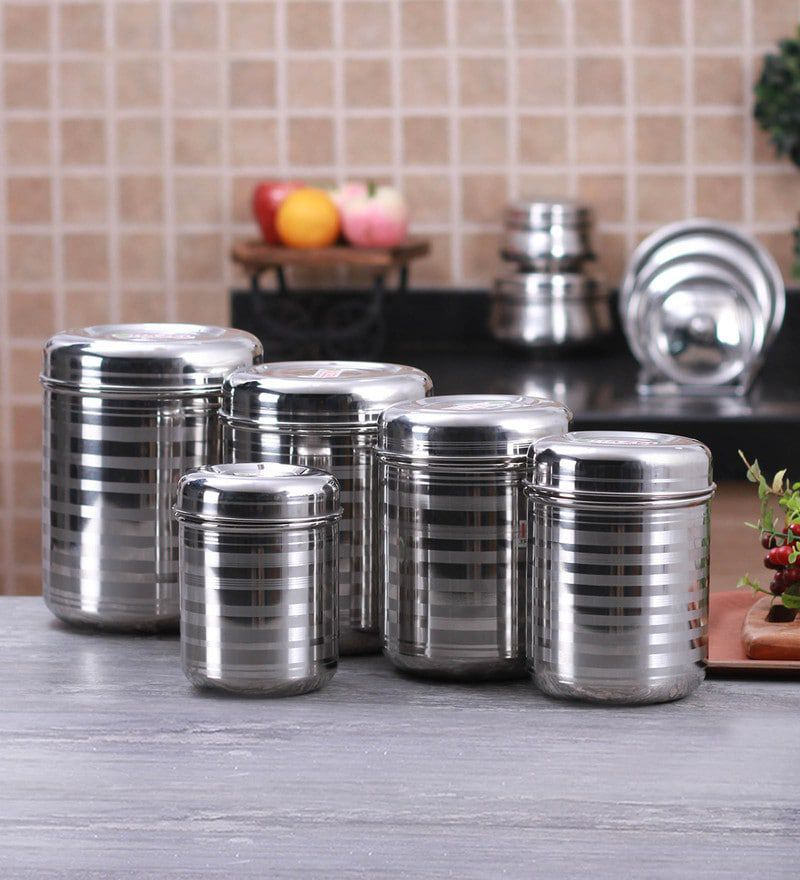 Modebell Steel Kitchen Storage Container Set Of Five Boxes Steel