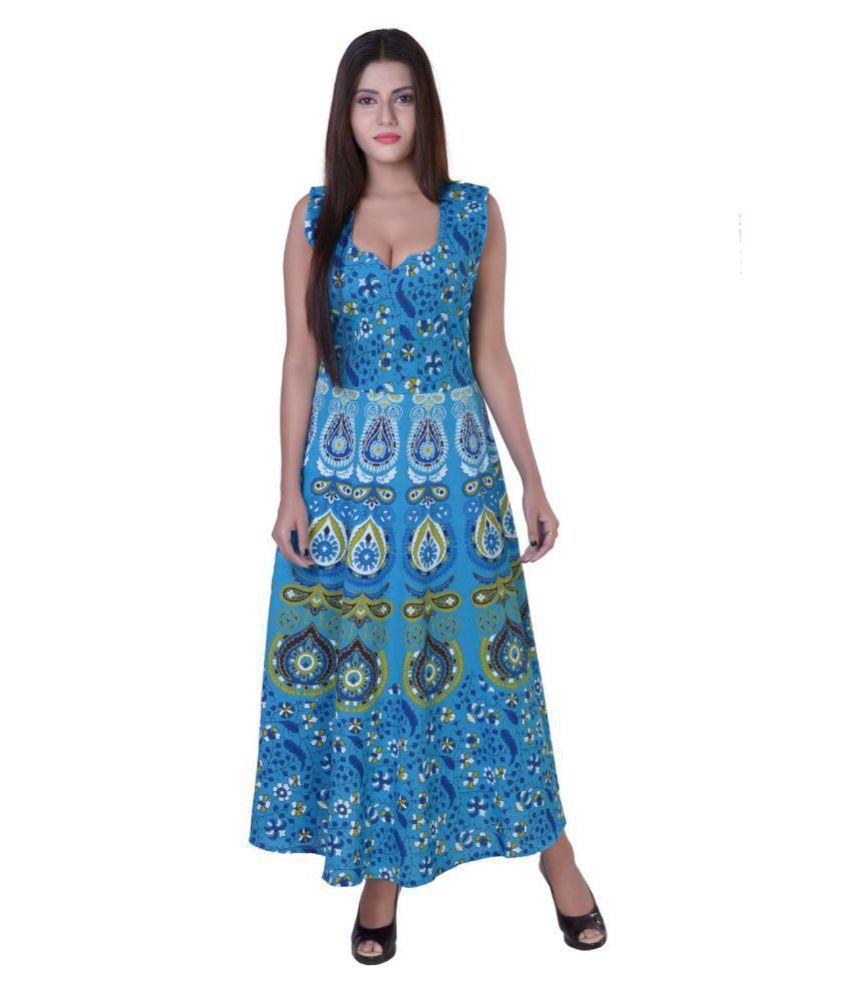 fabcolors Cotton Blue A- line Dress