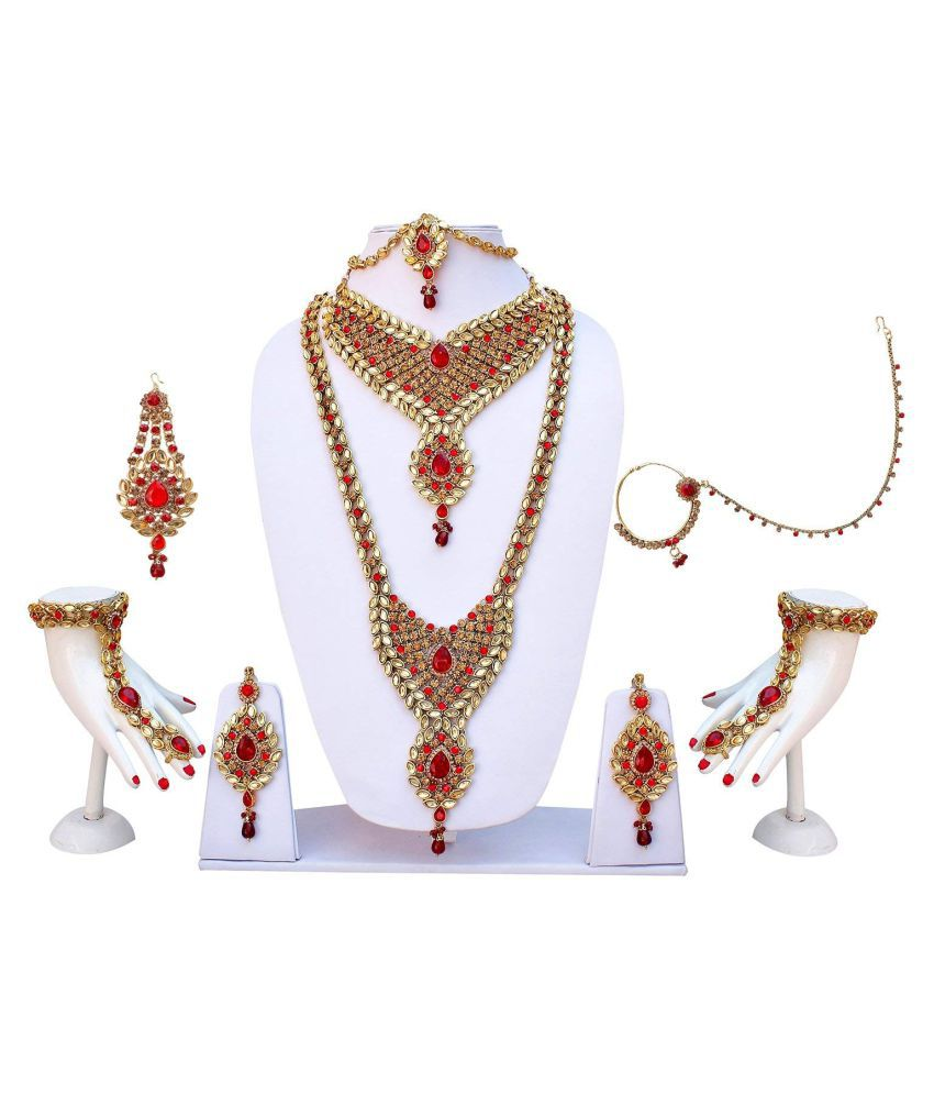 de4e76a20b ... Gold Plated Necklaces Set - Buy Manoj Chouhan None Red Other  Traditional Gold Plated Necklaces Set Online at Best Prices in India on  Snapdeal