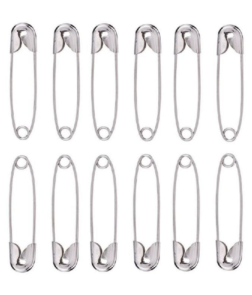 100pcs Needles Safety Pins Silver Assorted Size Small Medium Large Sewing Craft