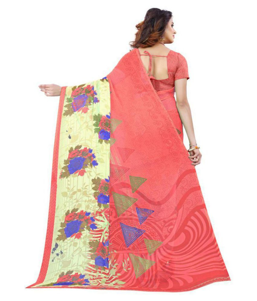 FINETHREAD Red and Pink Georgette Saree