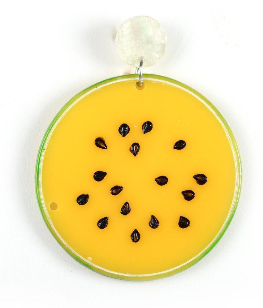 Women Cartoon Fruit Kiwi Slices Drop Earrings Sunflower Hook Earrings Jewelry