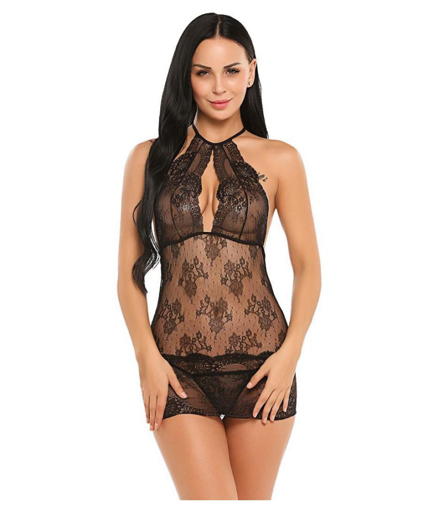 Women Sexy Lingerie Mini Babydoll Backless Sheer Lace Nightwear