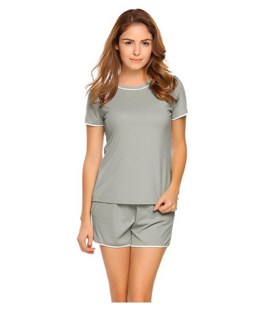 Women O-Neck Short Sleeve T-Shirt & Shorts Pajama Set Sleepwear