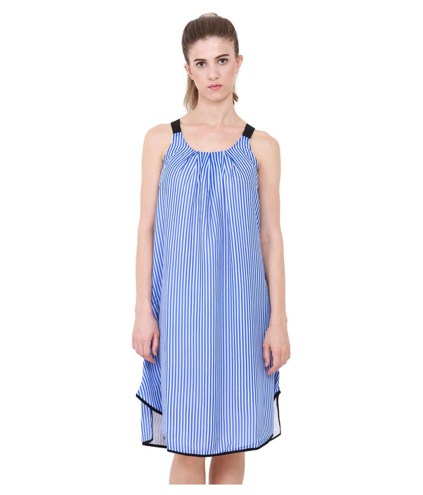 HEATHER HUES Polyester Blue A- line Dress