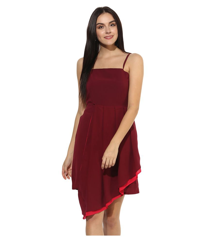 HEATHER HUES Polyester Maroon Sheath Dress