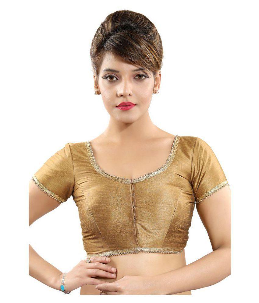 Atulya Designer Blouse Gold Art Silk Readymade with Pad Blouse