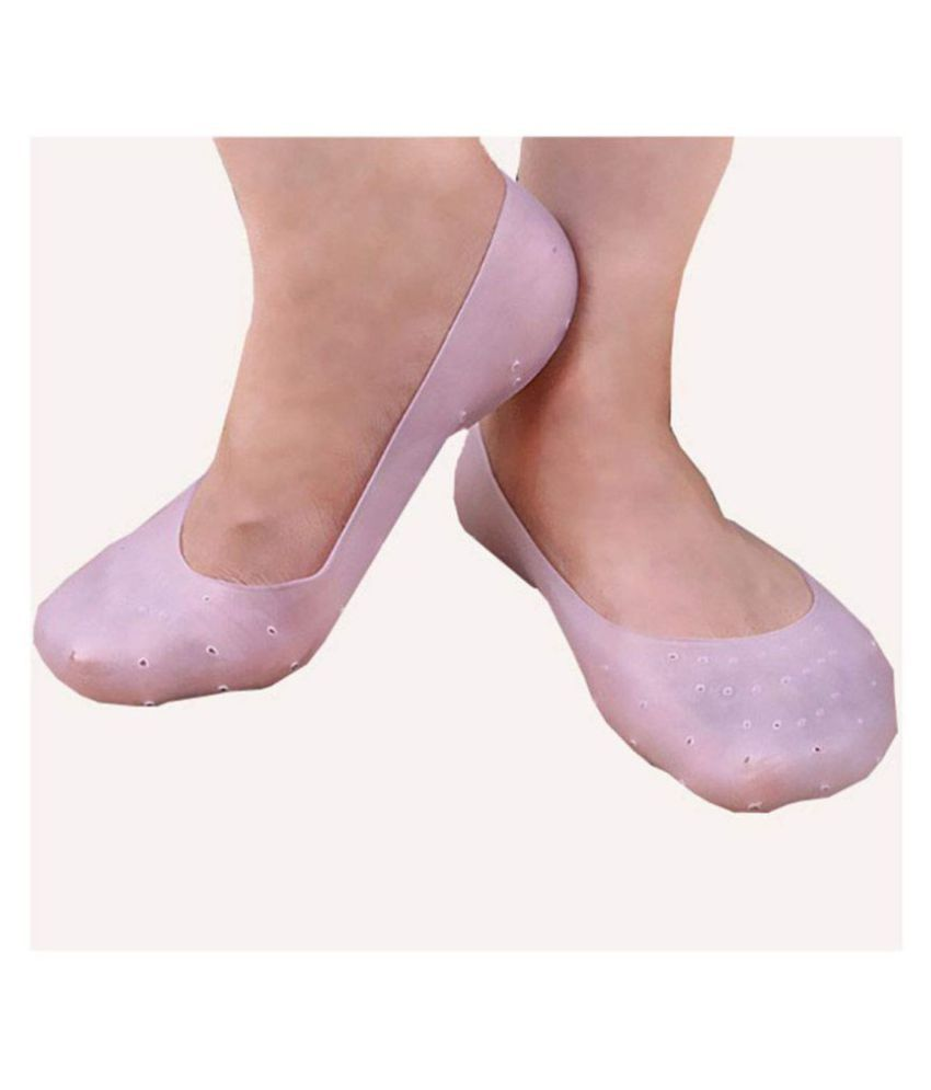 Euros Anti Crack Silicon Foot Moisturizing Socks Gel Foot Socks -Set Of 1 Heel Support (M, Pink) M