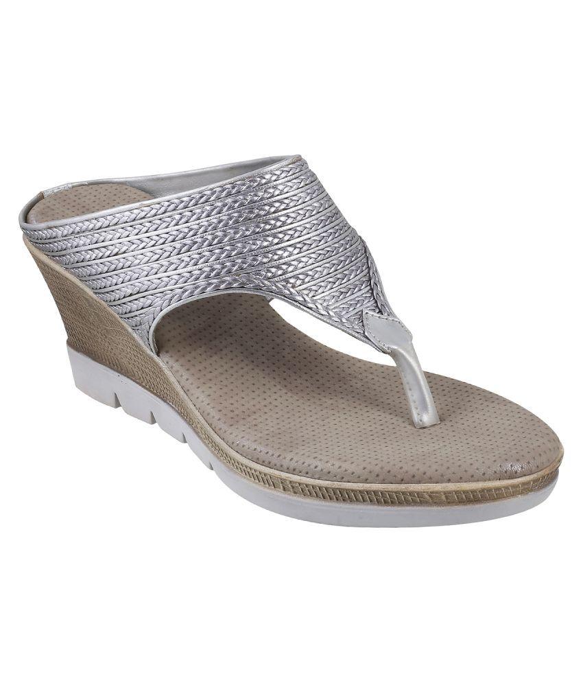 Mochi SILVER Wedges Heels