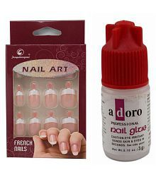 Ear Lobe & Accessories 12 pcs French Pink Nails with Glue Nails 5736 no.s