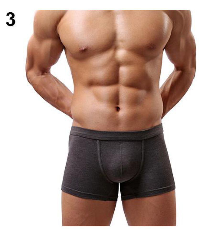 bf09e4244 ... Men s Sexy Solid Color Modal Elastic Boxers Shorts Underwear Briefs  Underpants ...