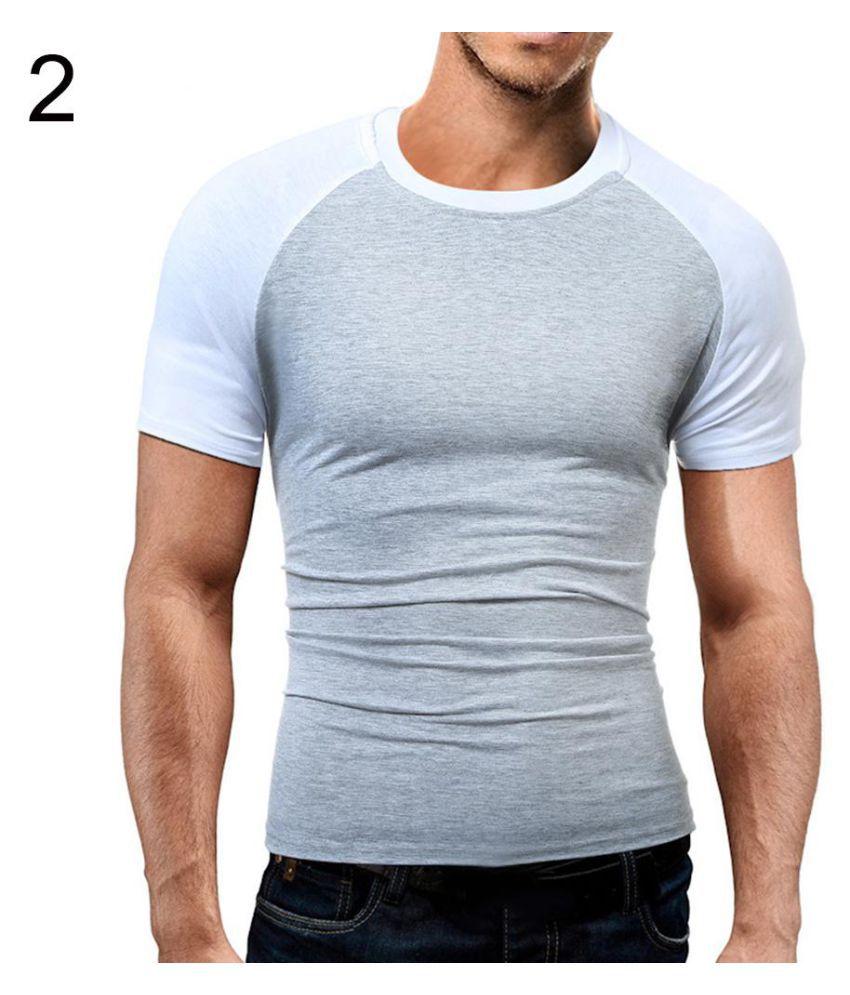 Generic Mens Summer Slim Round Neck Short Sleeve Color Block T-Shirt