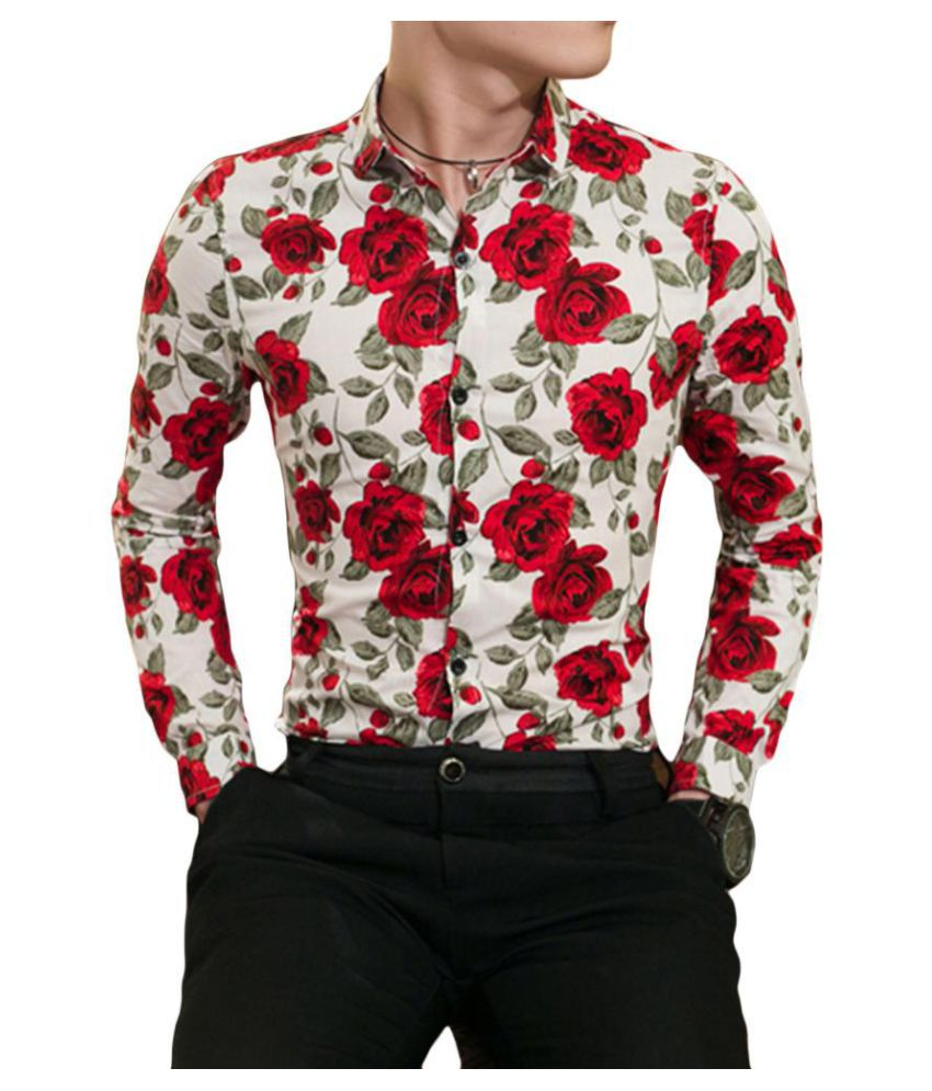 Generic Mens Casual Button Down Long Sleeve Print Shirt Tops