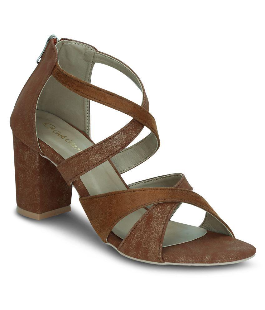 Get Glamr Tan Block Heels