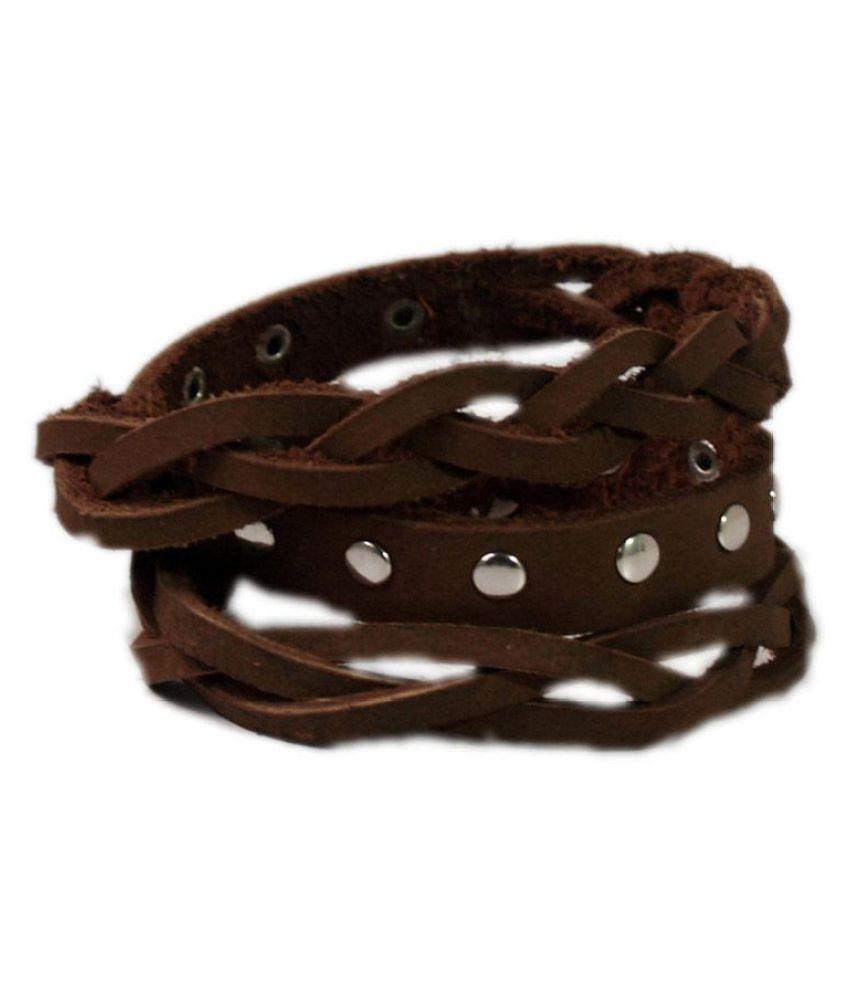 VR Designers Brown Faux Leather Bracelets