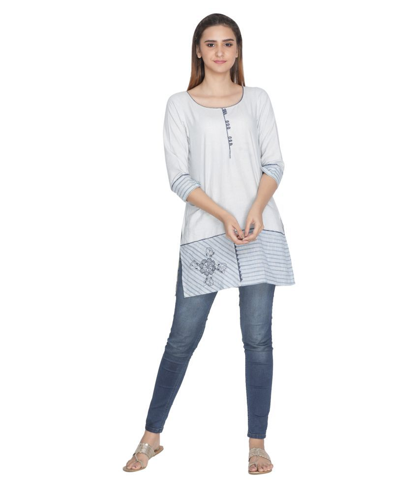 Nakshi Blue Cotton Straight Kurti