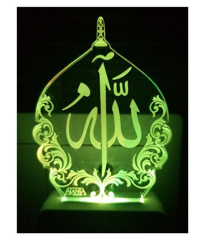 Ajanta Macca Madina Islamic code 2110 3D ( PEN STAND FREE ) Night Lamp  Multi - Pack of 1