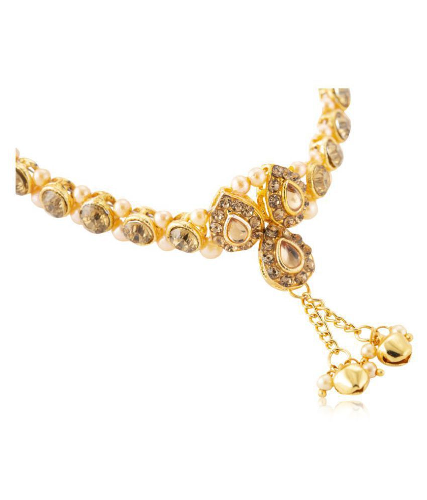 23f89996254772 ... Womensky Antique Traditional Kundan Pearls Stone Fancy Stylish Gold  Plated Payal/Anklet/Pajeb/