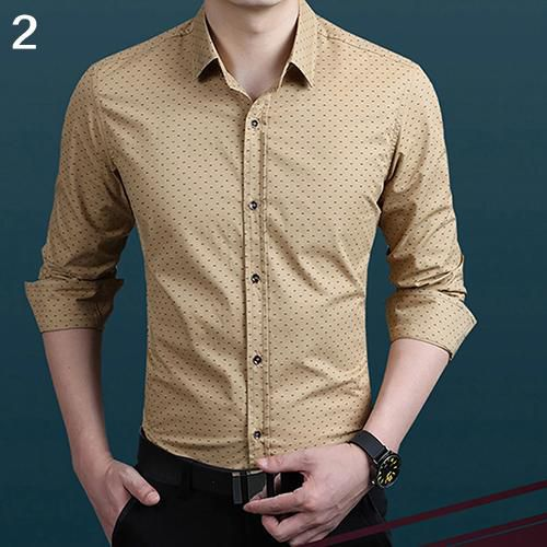 Generic Mens Printed Long Sleeve Slim Fit Button Down Dress Shirts Tops