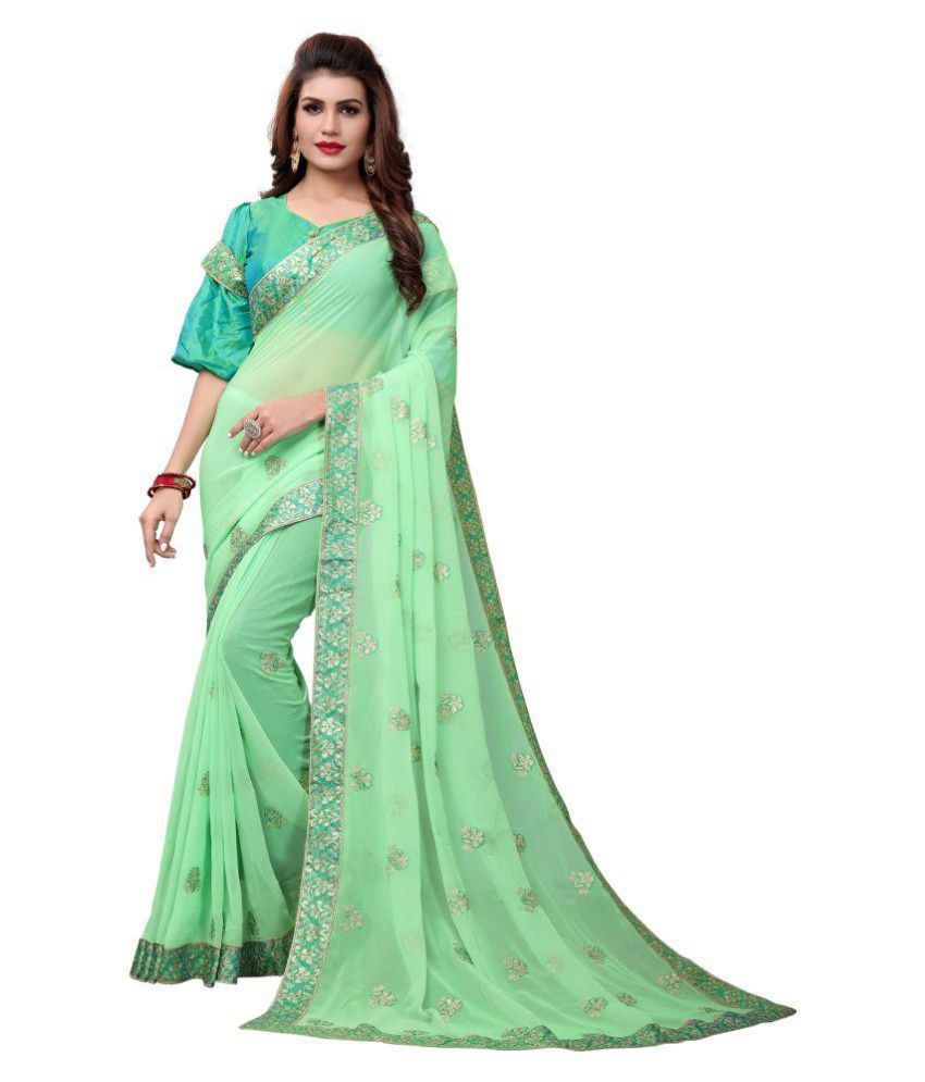 Hirvanti Fashion Green Georgette Saree