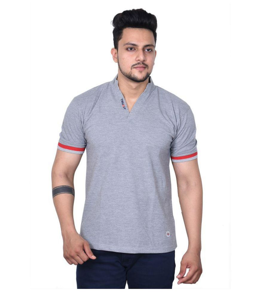 TRUEIT Grey Half Sleeve T-Shirt