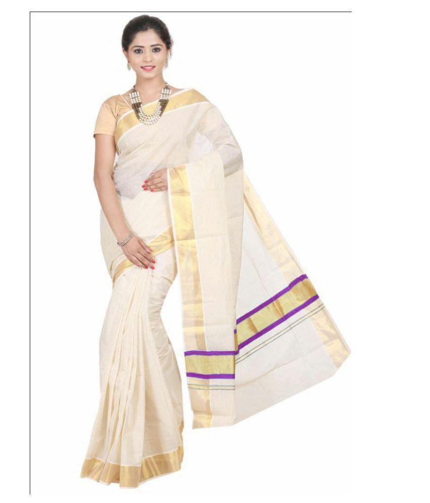 Fashion Kiosks White and Beige Cotton Saree